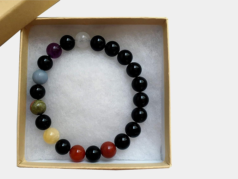 I Dig Crystals Chakra Bracelet 9mm Boutique Rainbow Handmade Stretch Round Gemstone Fluorite Unakite Calcite Obsidian B02