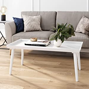 Nathan James 31601 Hazel Mid-Century Wood Tray Top Coffee Table with Narrow Cone Legs and Modern Veneer Finish, White