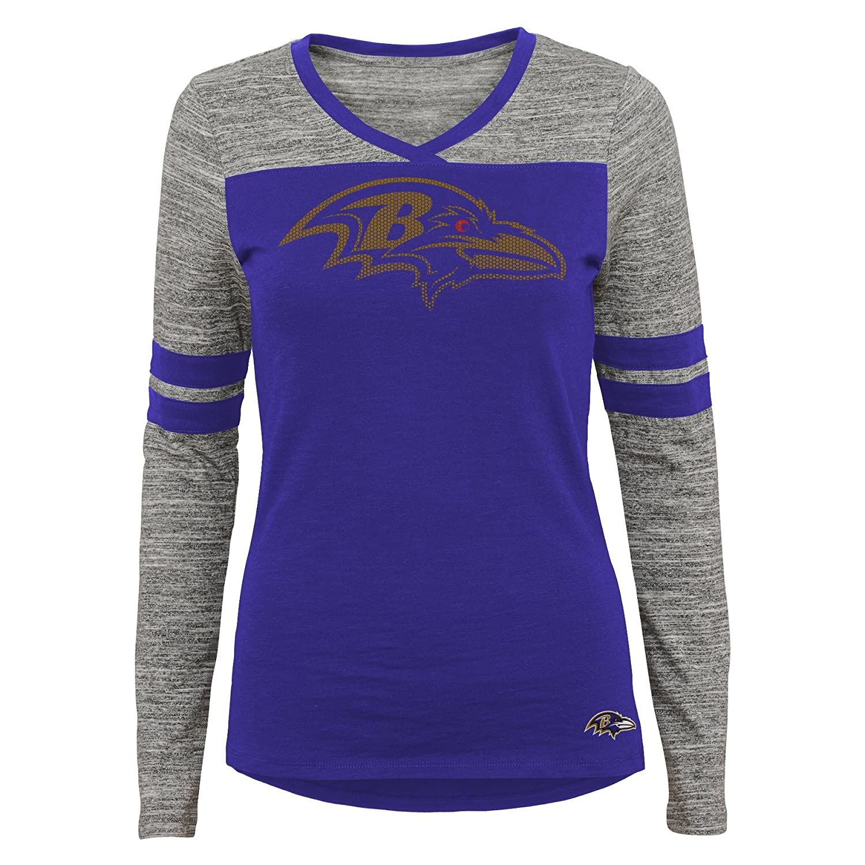 0-1 Rave Purple XS Baltimore Ravens Outerstuff NFL Junior Girls Secret Fan Long Sleeve Football Tee