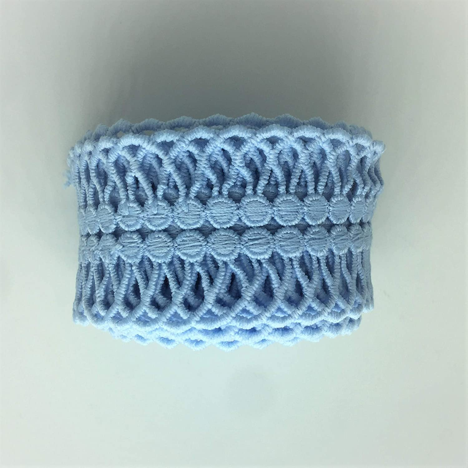 """Blue ELLA MAMA Embroidered Lace Trim Lace Ribbon 2/"""" x 3 YardsArch Vintage Pattern with Double Edge,for Home Decoration,Wedding Decoration,Party Decoration,DIY Sewing Craft etc"""
