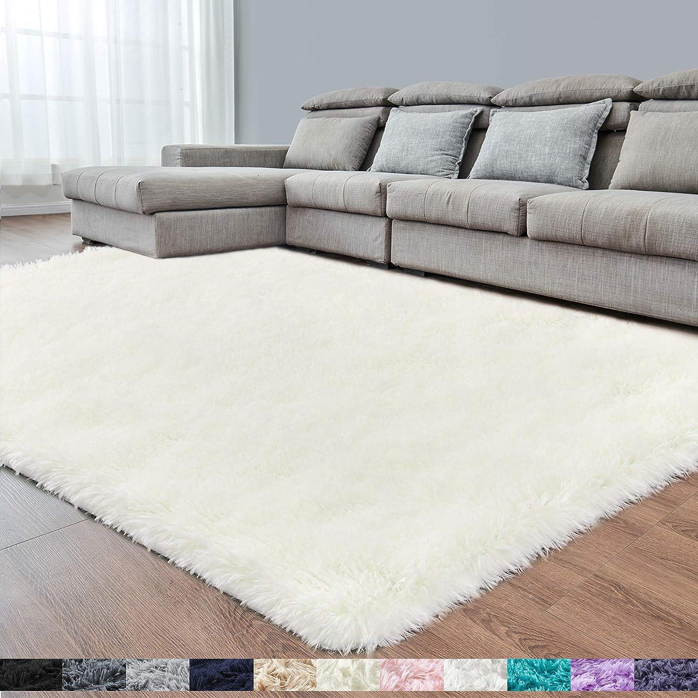Creamy White Soft Area Rug for Bedroom,4x6.6,Fluffy Rugs,Shag Carpet for Living Room,Fuzzy Rug for Kids Baby Room,Furry Rug for Girls Boys Room,Large Anti-Slip Rug,White Carpet,Home Decor,Bedside Rug