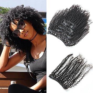 Amazon mongolian afro kinky curly clip in hair extensions 4b mongolian afro kinky curly clip in hair extensions 4b 4c pattern virgin human hair for black pmusecretfo Gallery