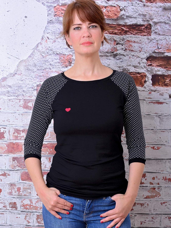 Shirt FRANZISKA schwarz weiss Polka Dots Herz Punkte von STADTKIND POTSDAM