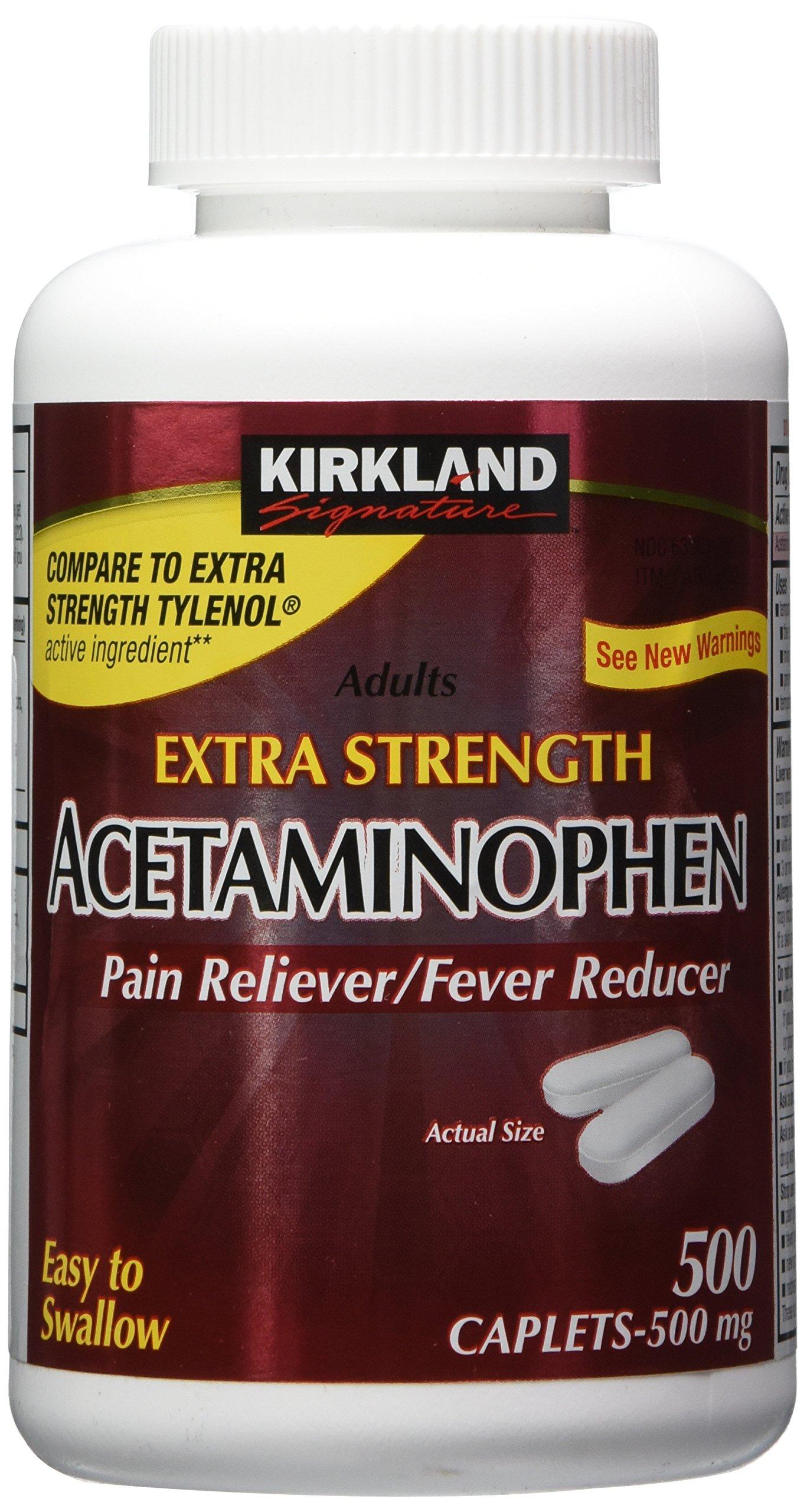 Kirkland Signature Extra Strength Acetaminophen 500MG Caplets, 500-Count Bottle