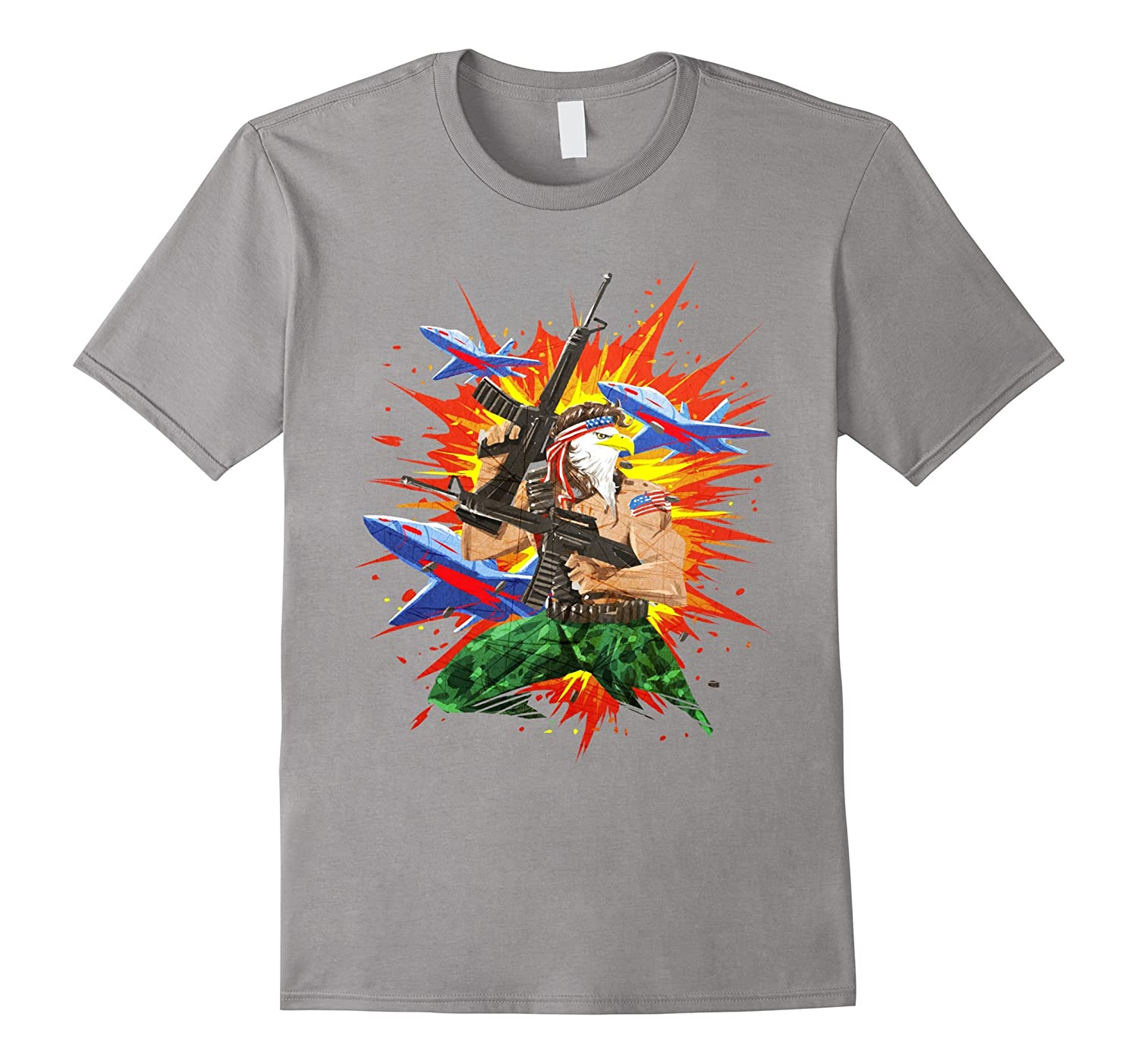 Eagle Mullet Guns and Fireworks USA 4th of July Freedom Tee-PL