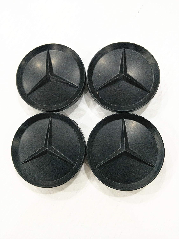 MERCEDES SET OF 4 ALL BLACK CENTER WHEEL HUB CAPS 64MM COVER EMBLEM NEW Luck16888