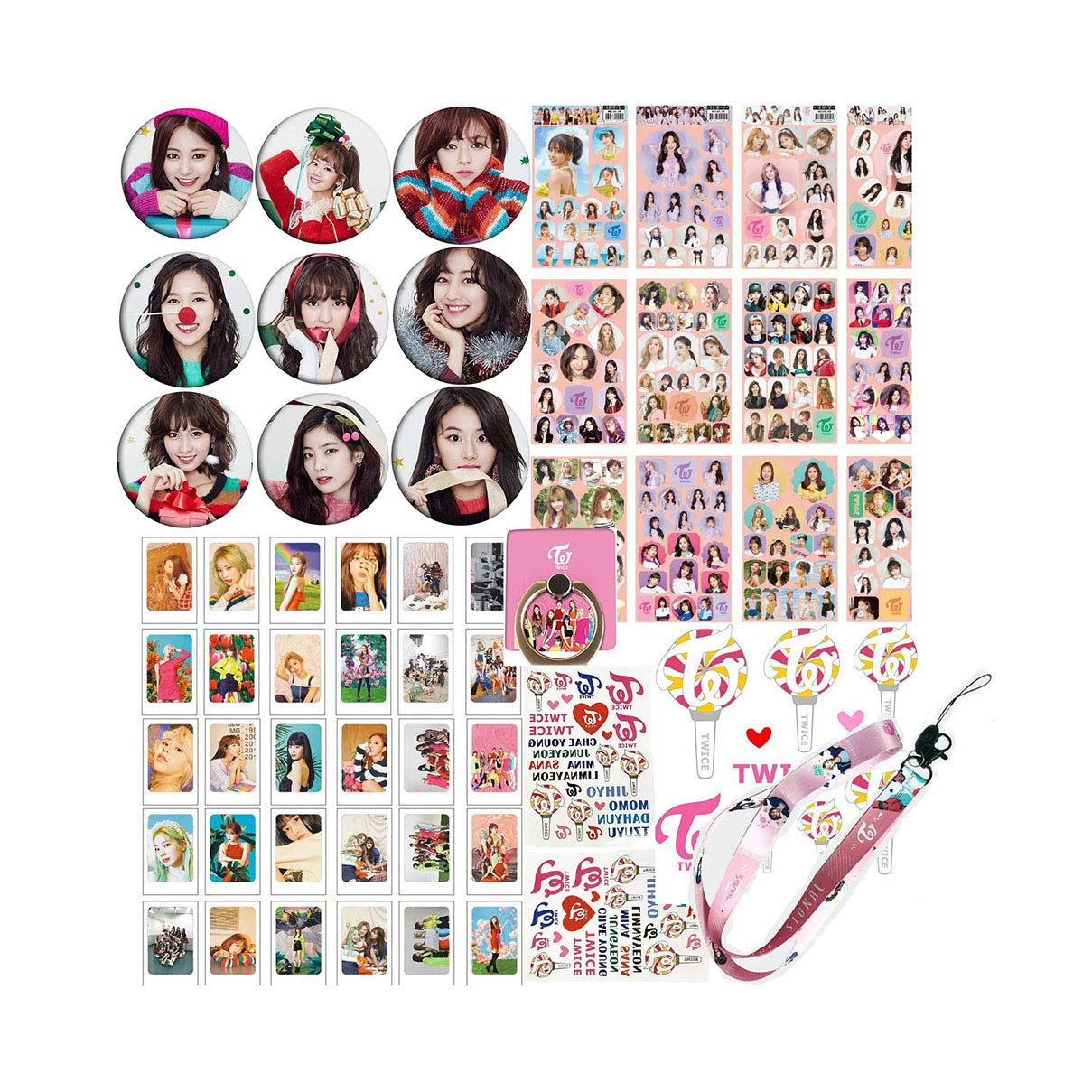 Twice Set: 30 Lomo Cards, 9 Pins, 1 Anillo,2 Tattoo,stickers
