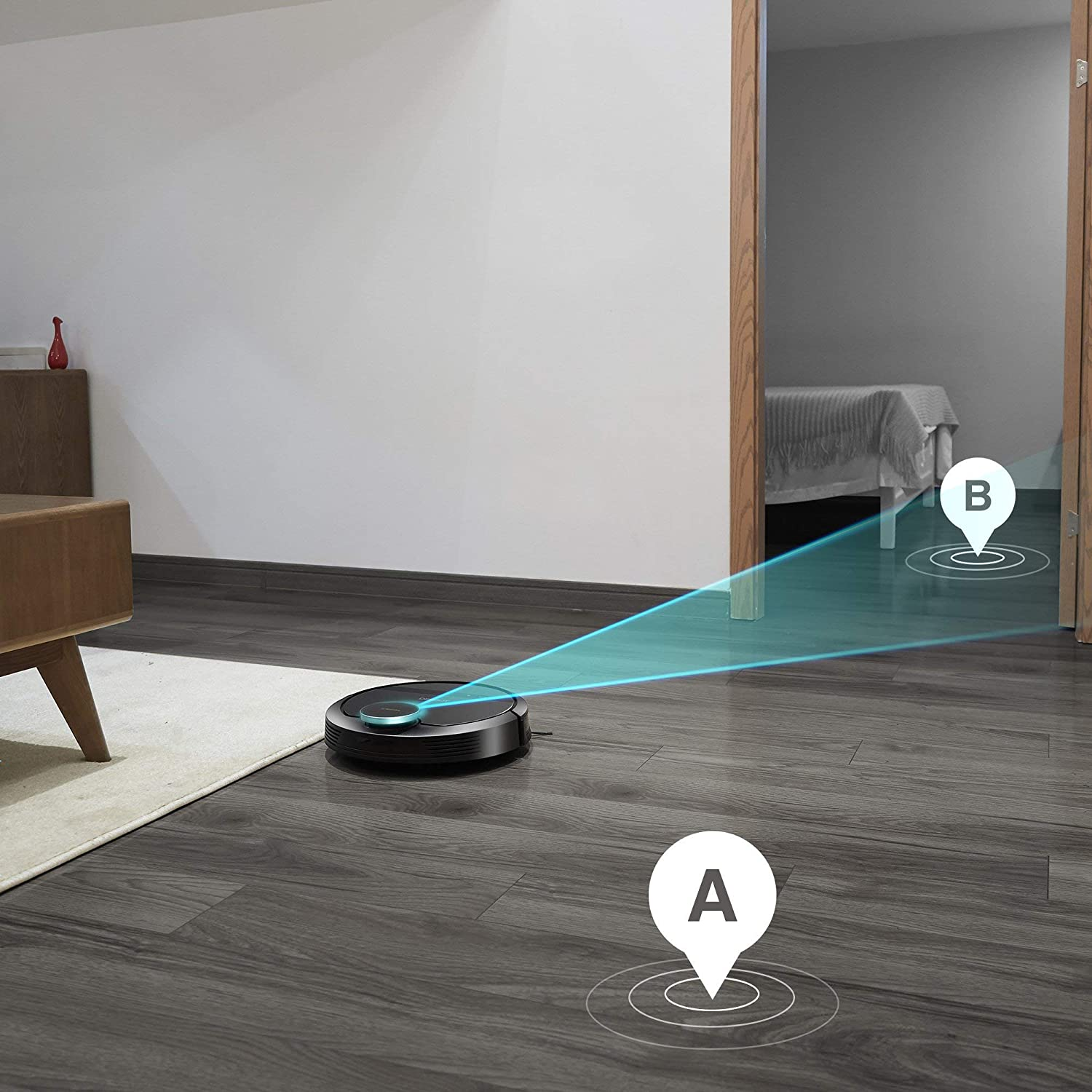 Renewed ECOVACS DEEBOT 901 Smart Robotic Vacuum for Carpet with Mapping Technology Higher Suction Power Pet Hair WiFi Connected with Alexa and Google Bare Floors