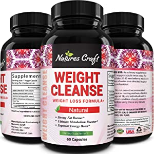 Natures Craft Extra Strength Energy Blend Appetite Suppressant/Fat Burner Made with Best Garcinia Cambogia HCA + Raspberry Ketones + Green Coffee Bean Extract - Rapid Weight Loss Pills