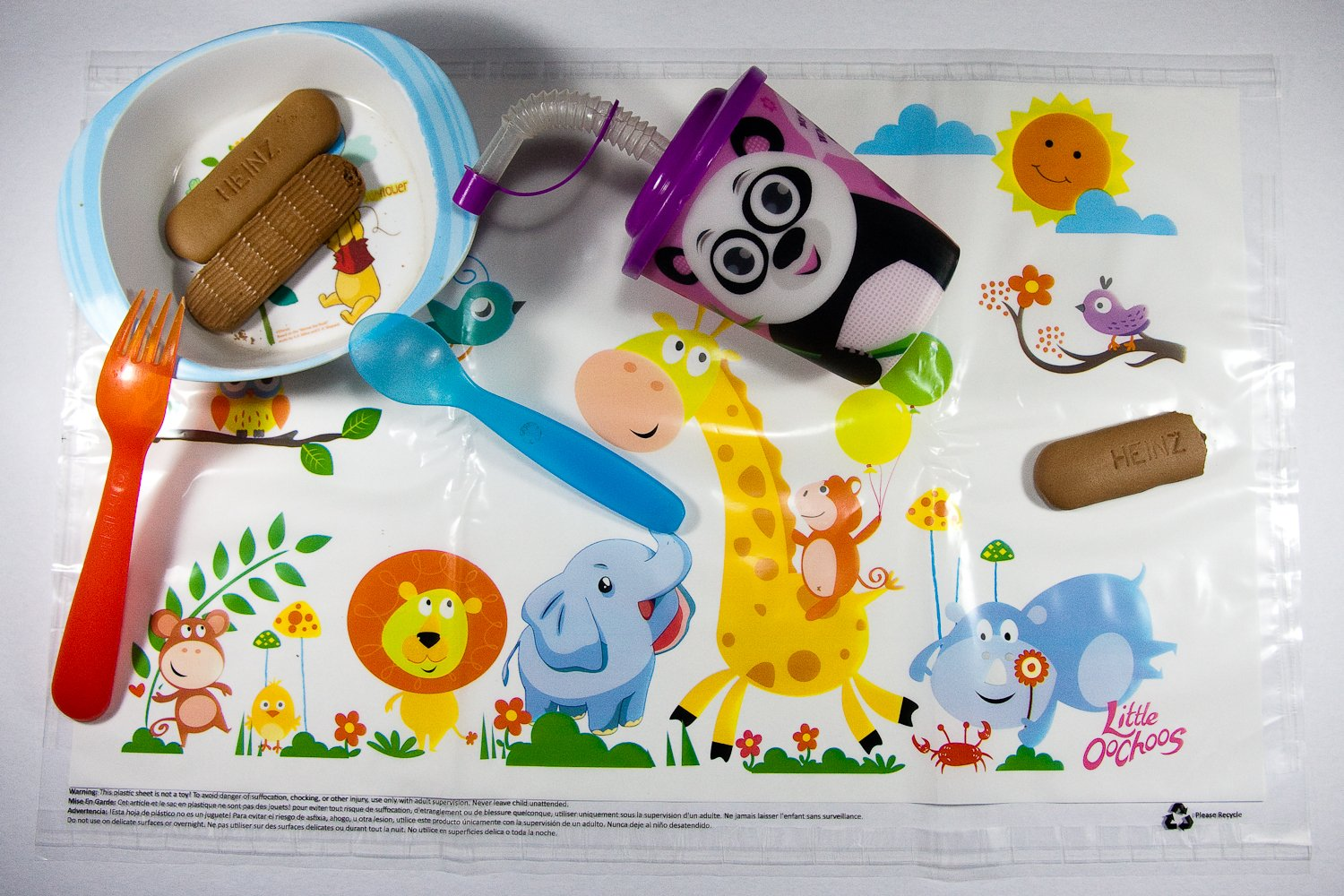 Disposable Placemats Table Topper 60 Mats for Children Kids Toddlers Baby perfect to use as Restaurants Place mats BPA Free Eco Friendly Sticks to Table Avoid Germs Fun Animal Designs Keep Neat Now!
