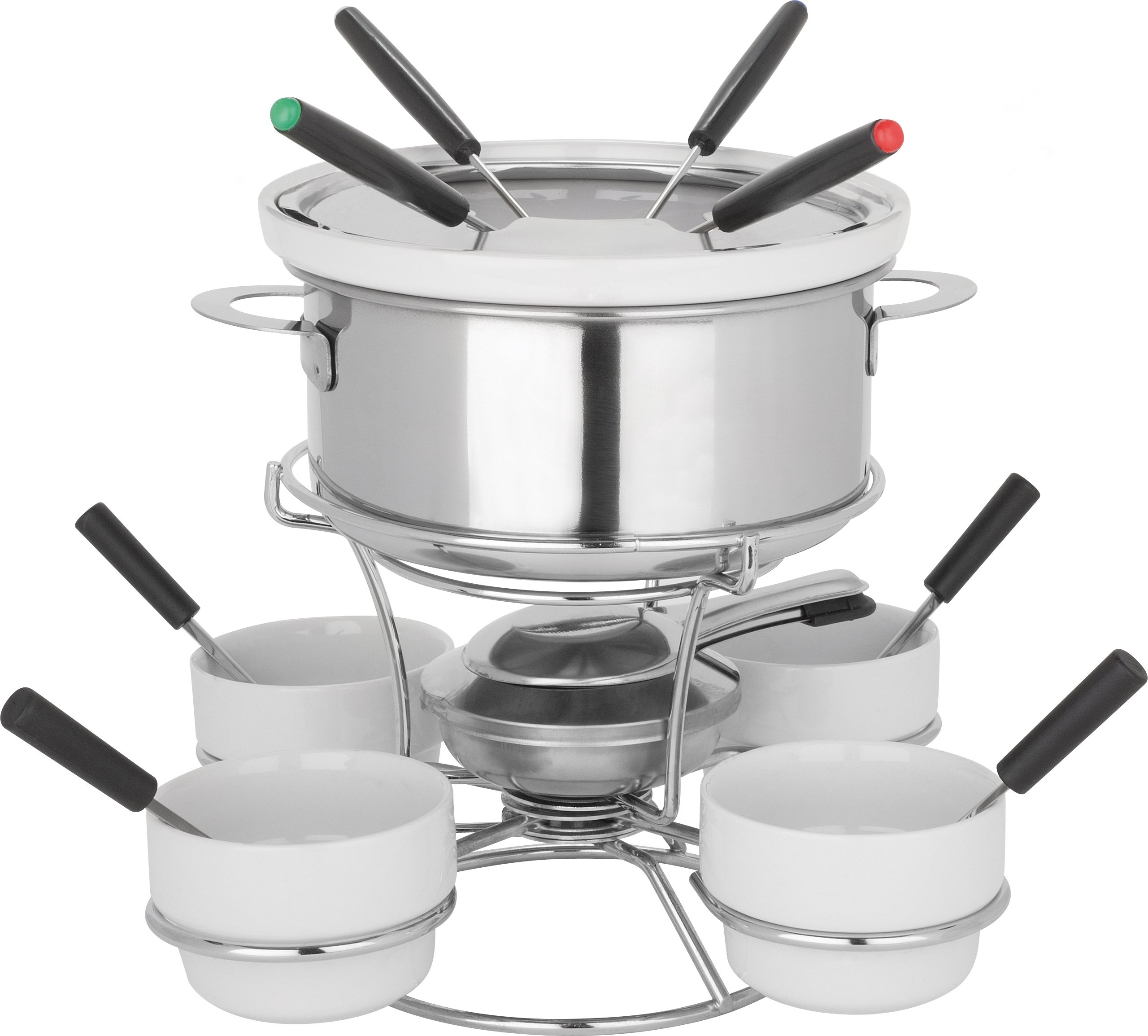 Trudeau Home Presence Fenty 44 Ounce Stainless Steel Fondue Set With Lazy Susan - 17 Piece by Trudeau Home Presence