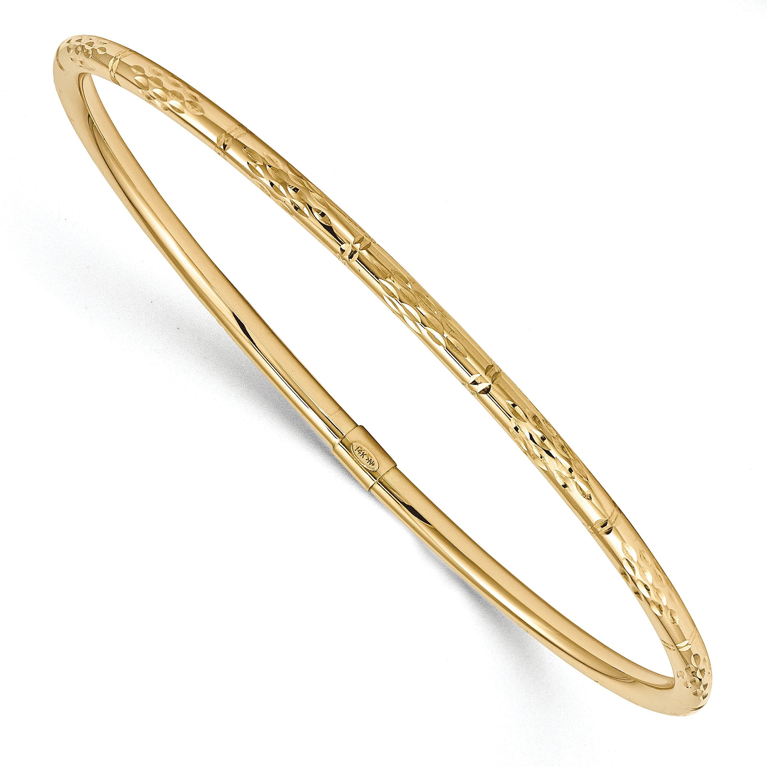 ICE CARATS 14k Yellow Gold Slip On Bangle Bracelet Cuff Expandable Stackable Fine Jewelry Gift Set For Women Heart