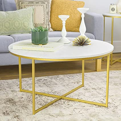 Amazon Com Rounded Coffee Table Round Top White And Gold Color