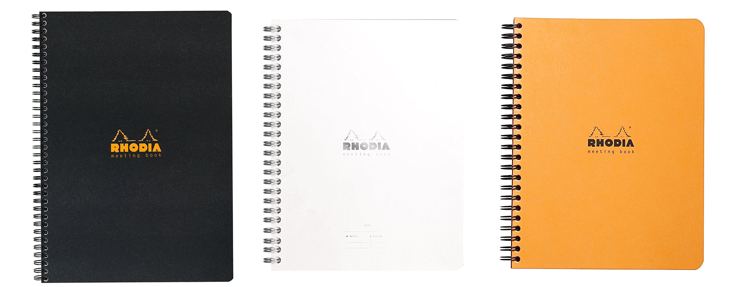 Rhodia Meeting Books 6 X 8 Inches, Pack of 3, Black, White and Orange