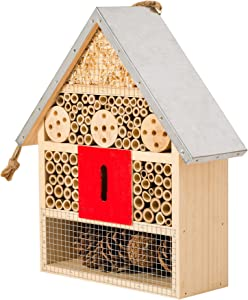 SKOOLIX Hanging Insect House for Gardens ~ Perfect Habitat for Ladybugs(Ladybirds), lacewings, Butterfly, Mason Bees, Solitary, Leaf Cutter