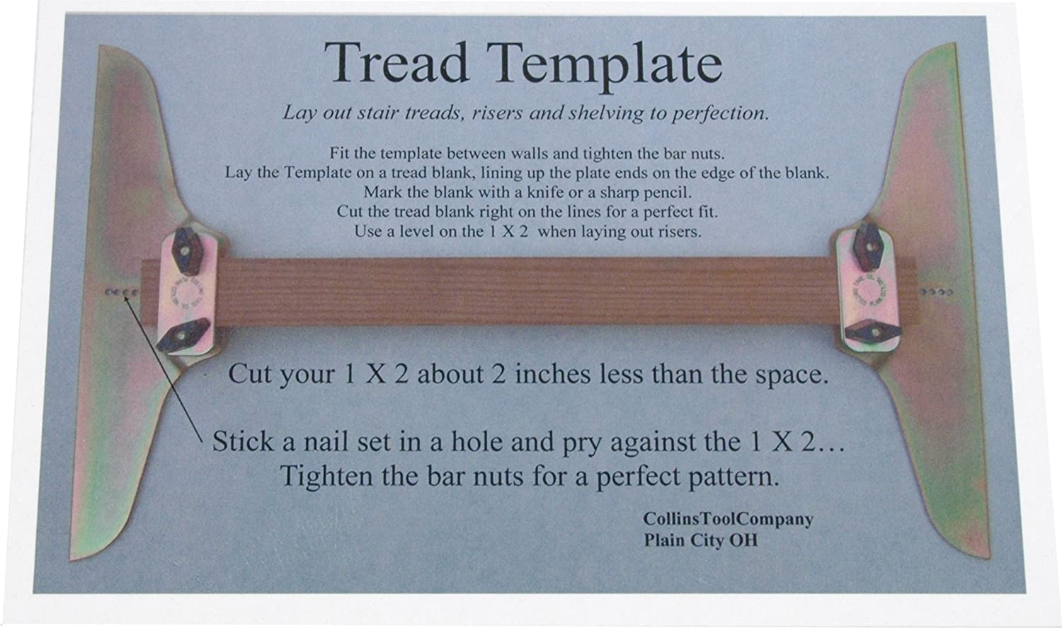 Collins Tool Company Stair Tread Template Set Staircase Step