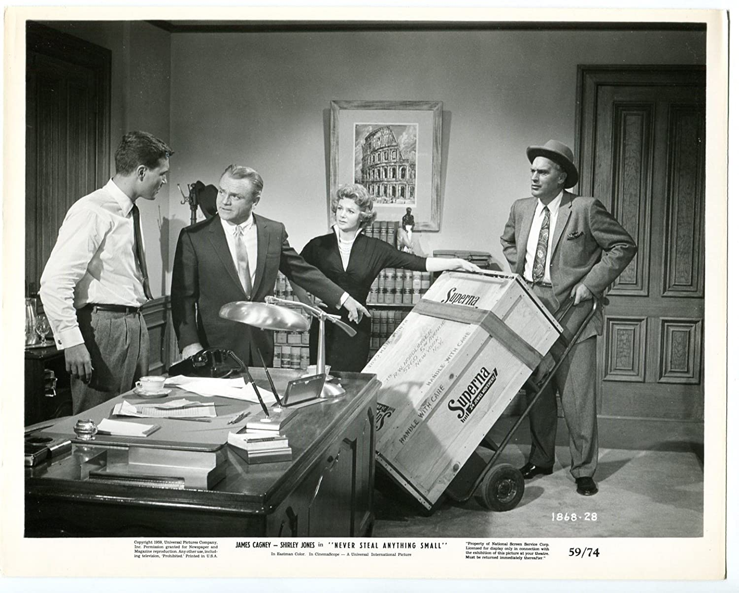 MOVIE PHOTO: Never Steal Anything Small 8x10 Promo still- James Cagney- Cara Williams- FN at Amazons Entertainment Collectibles Store
