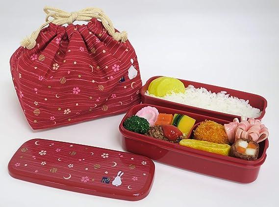 OSK PW-28C - Juego de caja bento tradicional japonesa, diseño de conejo y luna, versión renovada, apto para microondas y lavavajillas, incluye palillos y bolsa Bento, color rojo: Amazon.es: Hogar