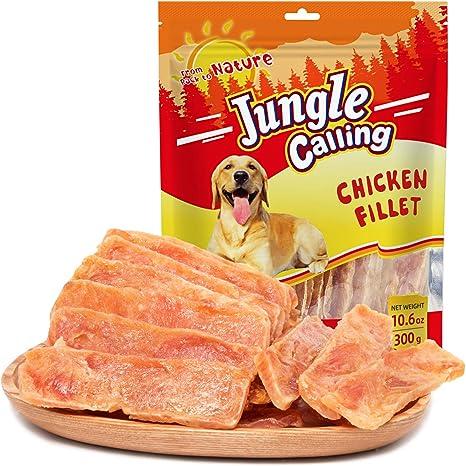 Jungle Calling Secado de Pechuga de Pollo,para Perros de Entrenamiento, Biscolabis para Mascota Procesados,Sin Aditivos ni Químicos,Filete,300g