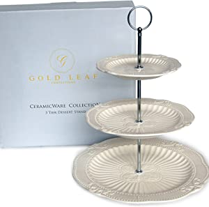 Victoria Interchangeable 2 or 3 Tier Cake Cupcake Dessert Display Stand - Perfect for Entertaining - Elegant Serving Plate/Platter Includes Silver and Gold Hardware