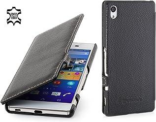StilGut Book Type Case con Clip, Custodia in Vera Pelle a Libro per Sony Xperia Z3+, Nero