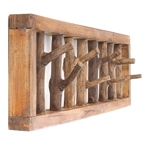 DESIGN DELIGHTS - Perchero de Pared Madera con Pinchos único ...