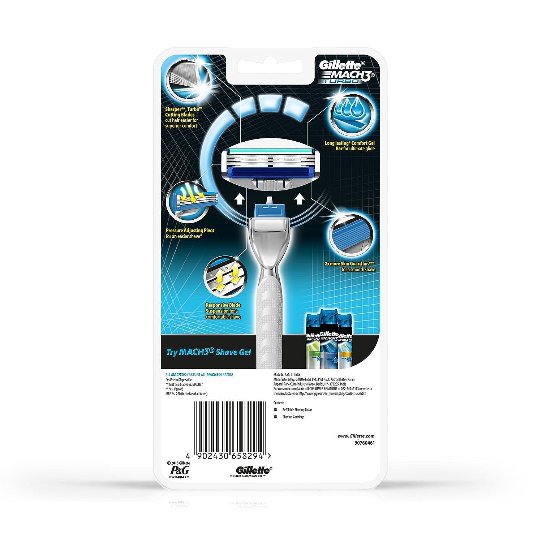 Gillette Mach 3 Turbo - Maquinilla de afeitar manual: Amazon.es: Salud y cuidado personal