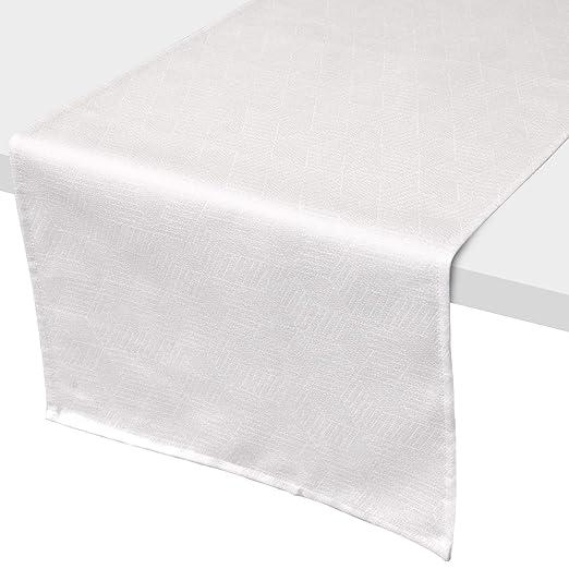 Camino de mesa 45 x 150 cm Jacquard 100% algodón cubo blanco ...