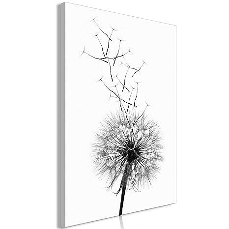 Schöne Pusteblume Schwarz//Weiß Leinwandbild Wanddeko Kunstdruck