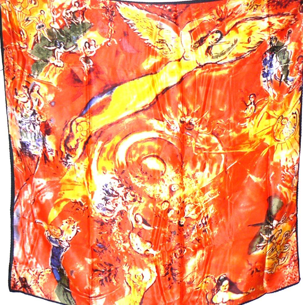 Silk Salon Large 100% Luxurious Charmeuse Silk Scarf Shawl Wrap Hot Orange