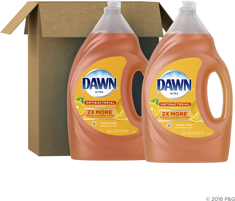 Dawn Antibacterial Dishwashing Liquid Dish Soap, Orange Scent, 56 Fl Oz,Pack of 2(Packaging May Vary)