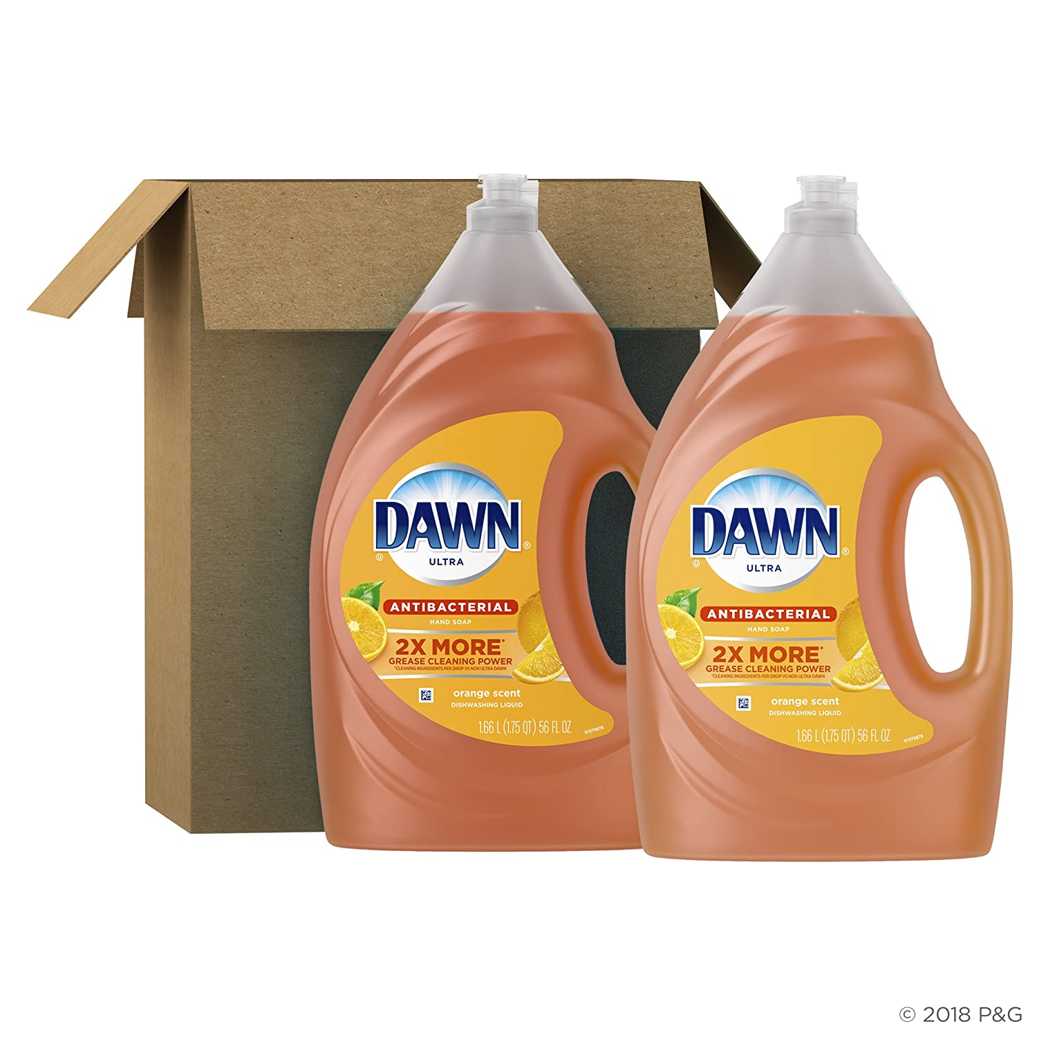 Dawn Ultra 2 Count Antibacterial Dishwashing Liquid Dish Soap, Orange Scent, 56 Fluid Ounce
