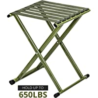 TRIPLE TREE Portable Folding Stool, Heavy Duty Outdoor Folding Chair Hold Up to 600 LBS