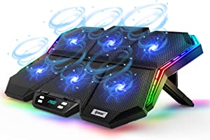 IPOW 12-Mode RGB Laptop Cooling Pad LED Screen Gaming Laptop Cooler with 6 High-Speed Adjustable Fans, 7 Heights Stand, 2 USB Ports, Compatible up to 17'' Laptop & PS4 - Blue