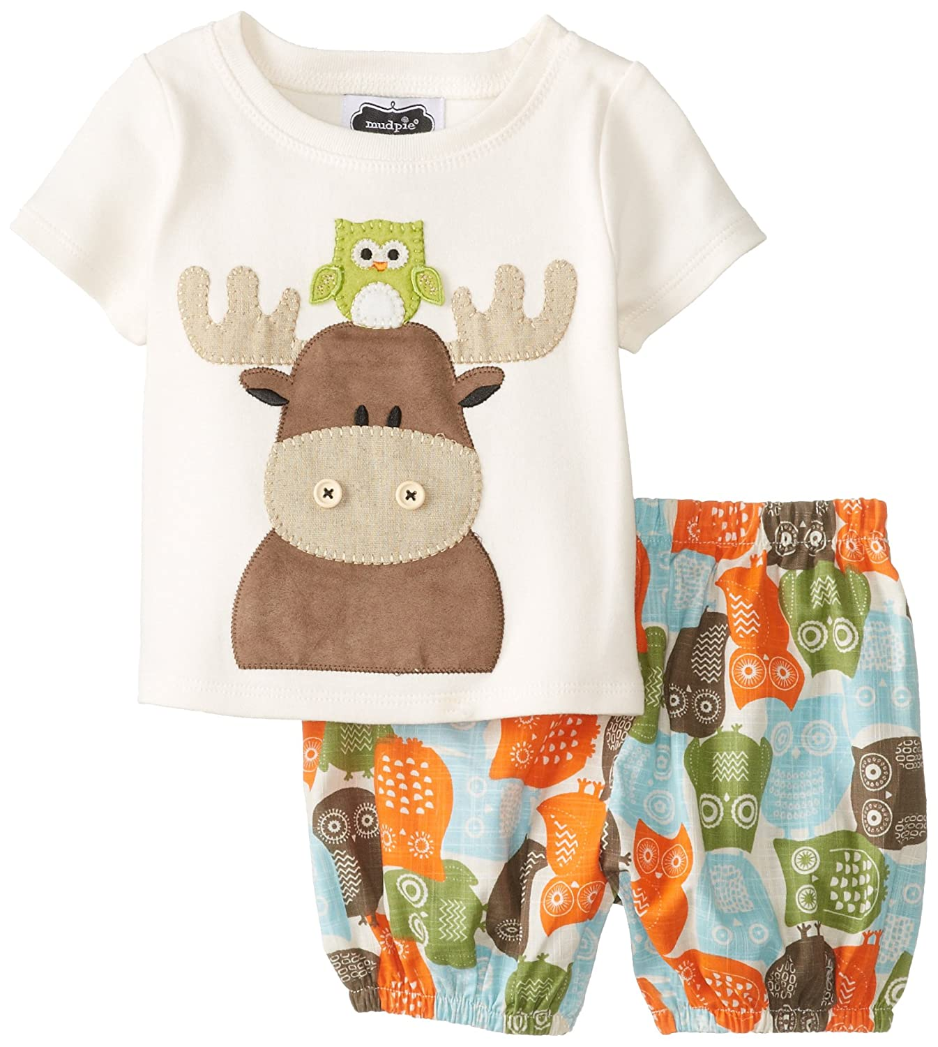 Mud Pie Baby-Boys Newborn Moose/Owl Diaper Cover Set Multi 0-6 Months 1012129