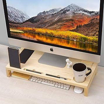Soporte elevador de madera para monitor de TV, PC, ordenador portátil, computadora con soporte para smartphone, para portátil, iMac, tabletas, escáneres, faxes y máquinas de 57 x 25 x 9 cm: Amazon.es: Electrónica