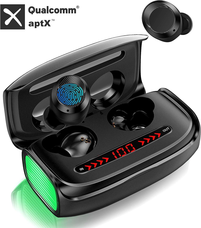 GRDE Auriculares Inalámbricos Bluetooth, Auriculares con Microfonos Deporte APTX CVC 8.0 Cancelación de Ruido Cascos HI-FI IPX5 Prueba de Sudor In-Ear Auriculares con Caja de Carga para iPhone Xiaomi