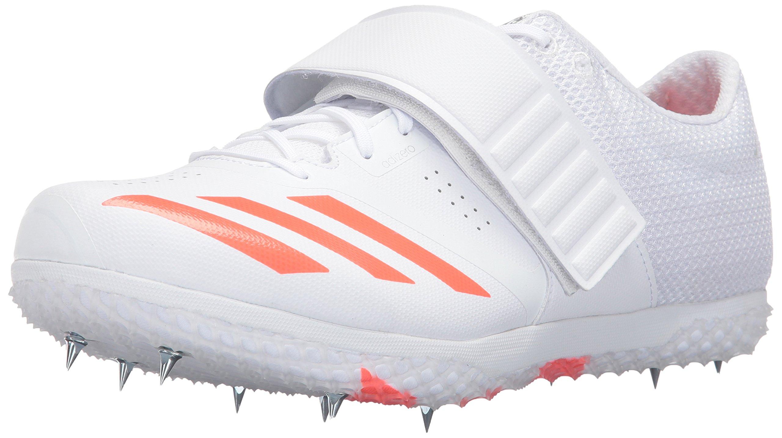 adidas Adizero HJ Track Shoe, White/Infrared/Metallic Silver, 9 M US