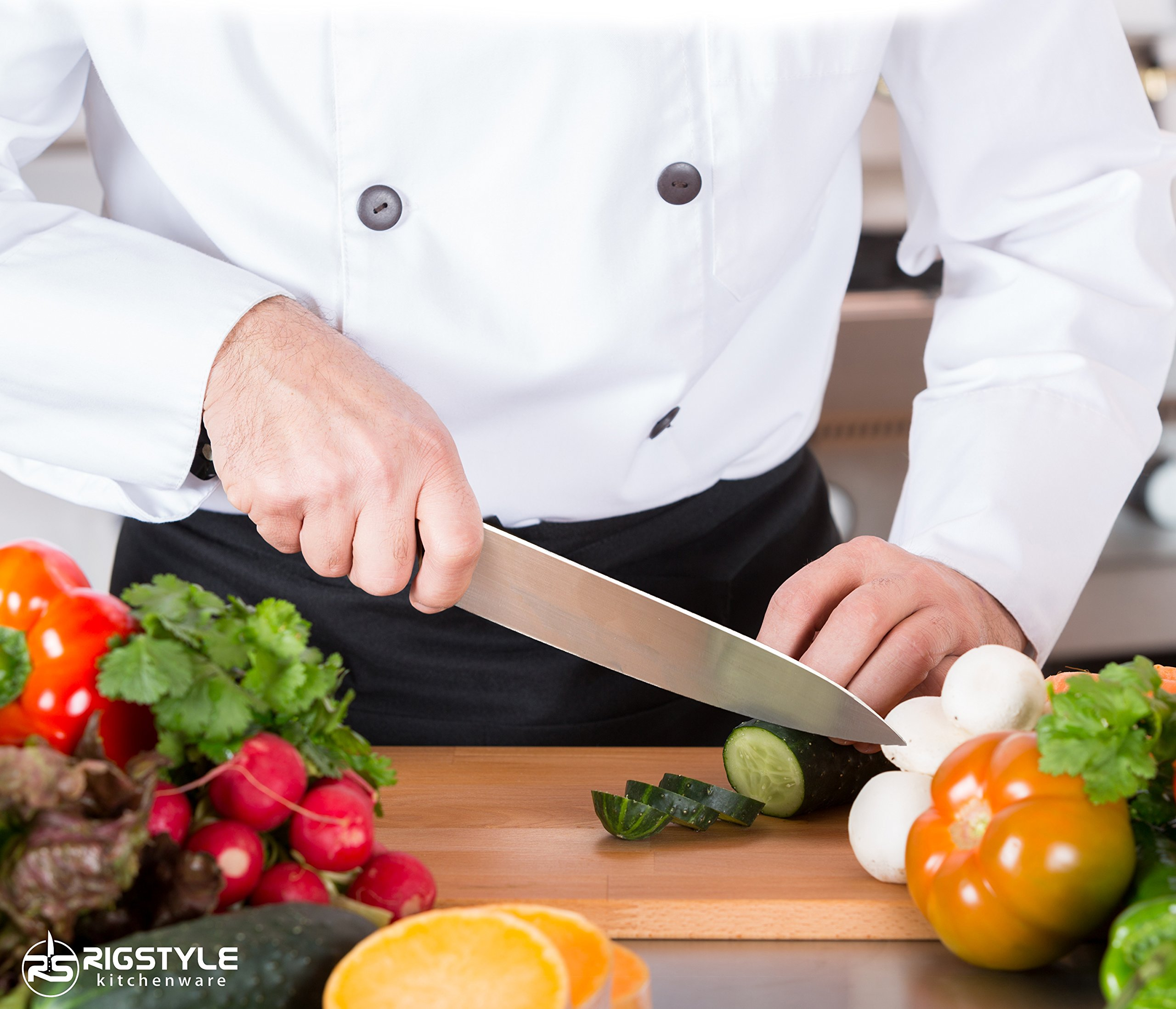 RIGSTYLE German Chef Knife 8 inch, High Carbon Stainless Steel, Sharp Blade with Ergonomic Handle for Professional Restaurants & Home Kitchens, Meat, Fish, Chicken & Vegetables Chopper, with Gift Box by RIGSTYLE (Image #4)