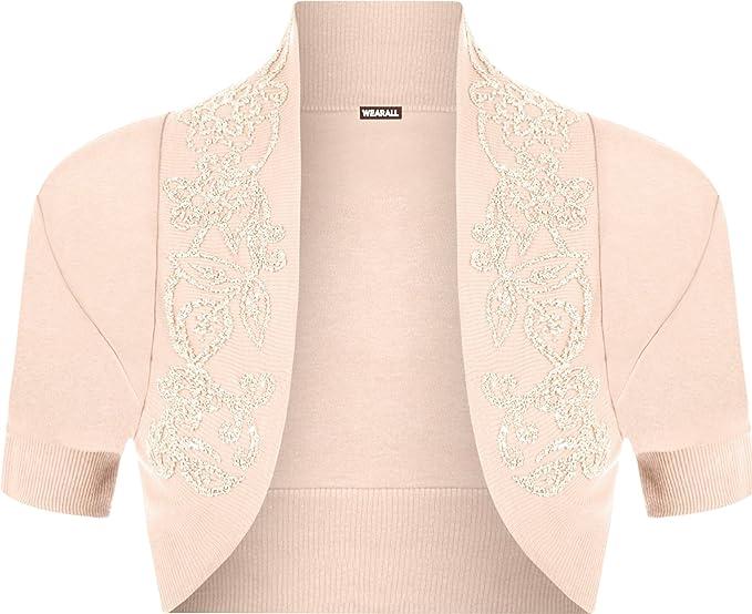 473345e8f4cd2 WearAll Womens Plus-Size Beaded Shrug Short Sleeve Bolero Cardigan Top -  Nude - 16