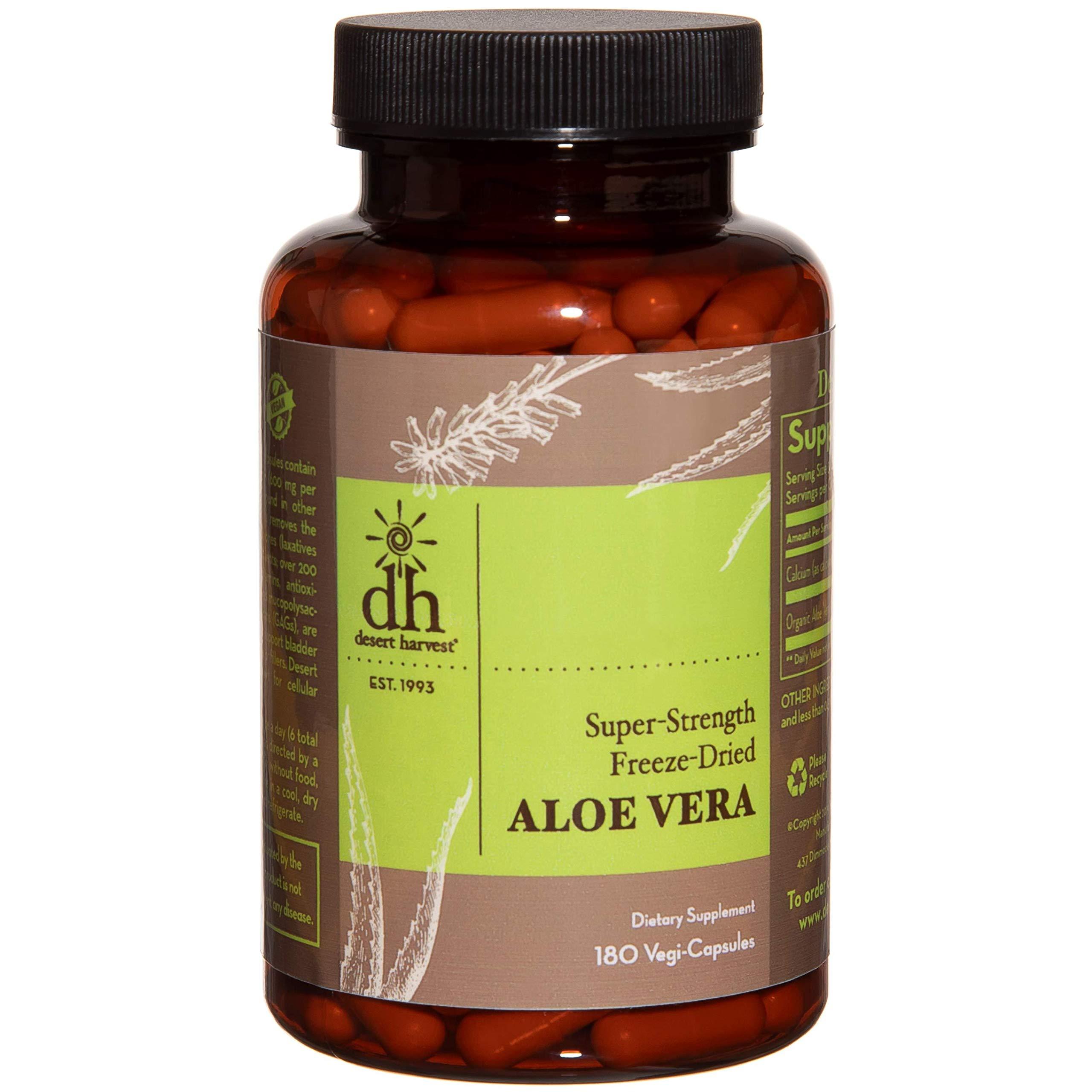 Desert Harvest Super-Strength 100% Organic Aloe Vera Supplement (180 Capsules), 600 milligrams containing 200 milligrams Active Ingredients Each. Interstitial Cystitis & Painful Bladder Relief by Desert Harvest