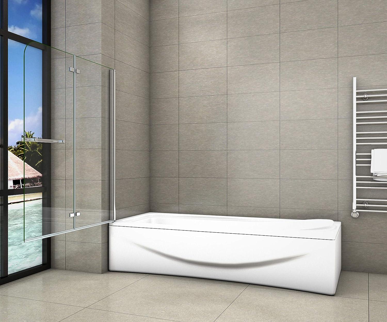 Pare-baignoire 100x140cm pivotant 180/°en 6mm verre anticalcaire avec une poign/ée en Inox