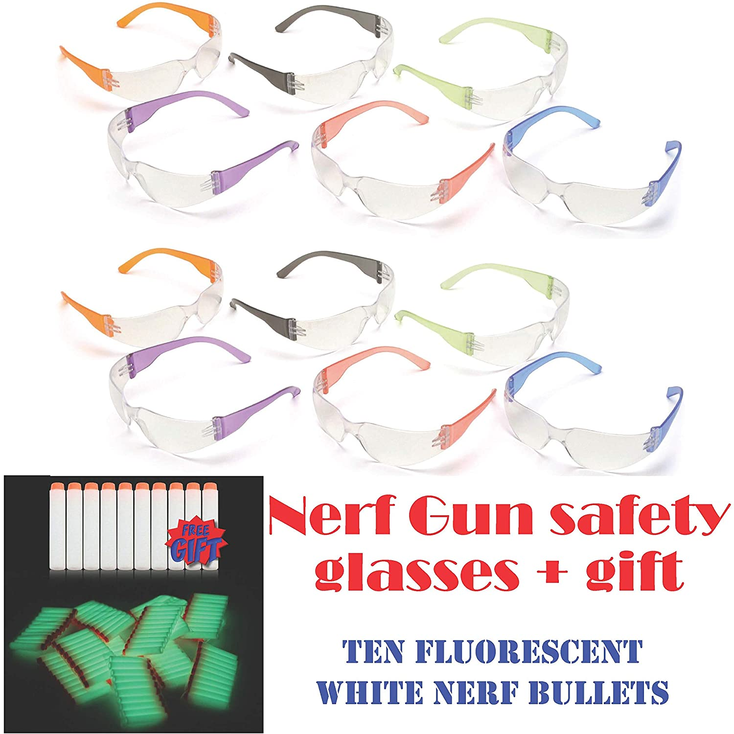16121d15bbc Amazon.com   12pak Safety Glasses for Nerf Gun Kids Party - Clear Lens  w Multi-Colored Frames   Baby