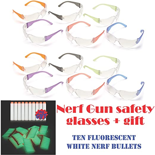 1eca28c997 Amazon.com   12pak Safety Glasses for Nerf Gun Kids Party - Clear Lens  w Multi-Colored Frames   Baby