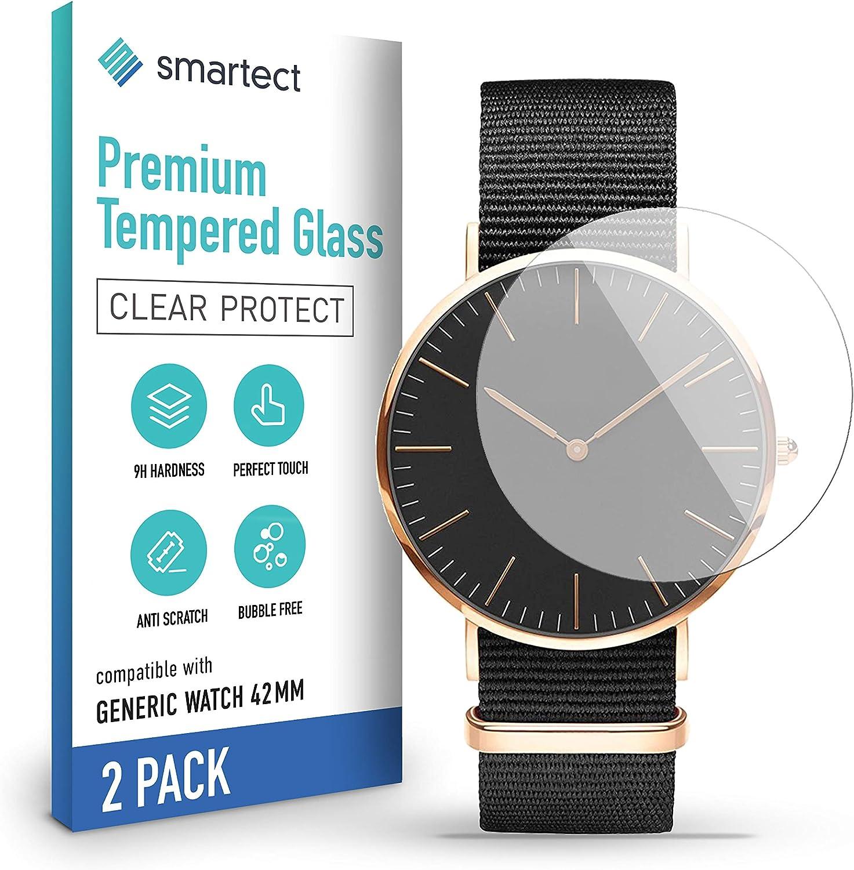 Smartect Schutzglas Kompatibel Mit Generic Watch 42 Mm 2 Stück Tempered Glass Mit 9h Härte Blasenfreie Schutzfolie Anti Kratzer Displayschutzfolie Elektronik
