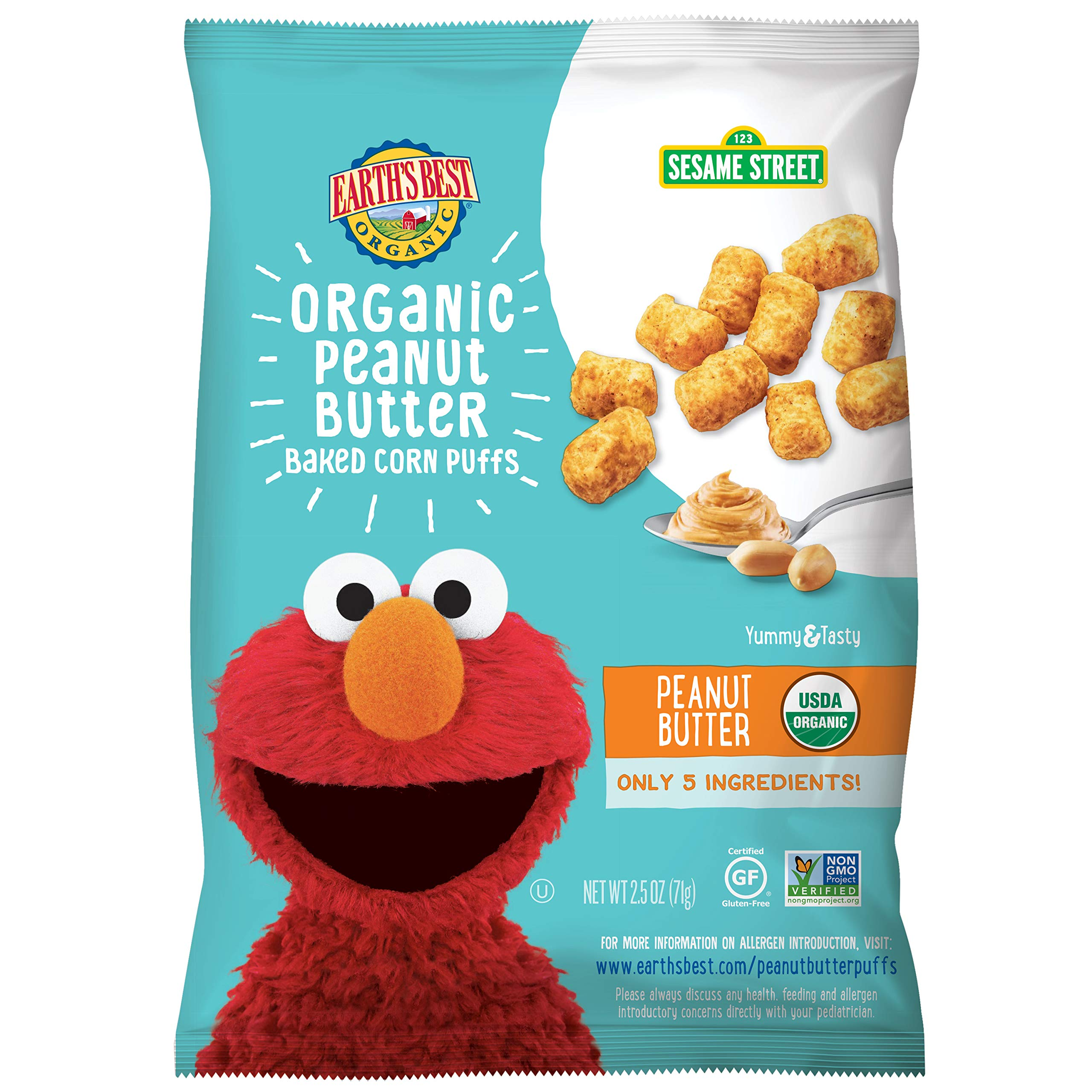 Earth's Best Organic Peanut Butter Baked Corn Puffs, 2.5 oz. (Pack of 6) by Earth's Best