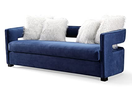 Amazon Com Tov Furniture Tov L6126 Velvet Sofa Navy Kitchen Dining