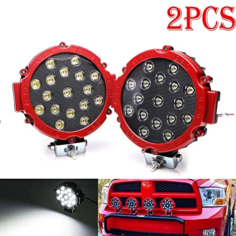 Led Off Road Lights Spot Round 51w 5100lm 7 Inch Super Bright Work Light Roof Bar Bumper Fog Driving For Truck Jeep Tractor 4x4 Boat Red 2pcs 2