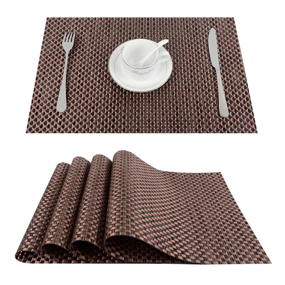 Top Finel Table Mats Sets Crossweave PVC Washable Stain Resistant Durable Dining Table Outdoor,Brown,Set of 8 by Top Finel (Image #1)