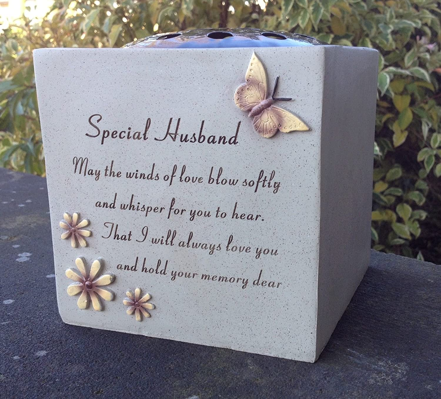 Special Husband Grave Vase Rose Bowl With Butterfly And Flowers